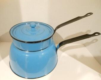 Vintage Blue Double Boiler