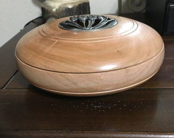Large potpourri bowl with pewter lid made custom made of cherry wood