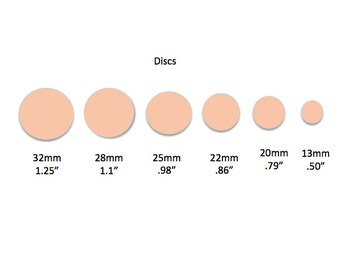 "14K Rose Gold Filled 20 Gauge - Round Disc Circle Blanks Wholesale - 6 Sizes 1/2"" to 1 1/4"" - Deburred Tumbled Finished"