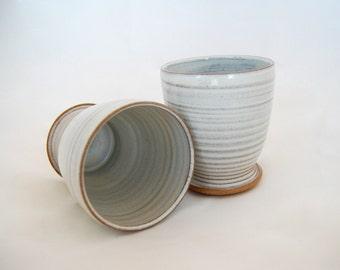 Ceramic Tumbler Juice Glass Handmade Cup handless mug White pottery cup Flower Vase Wheel Thrown MBPalley Ceramics(105)