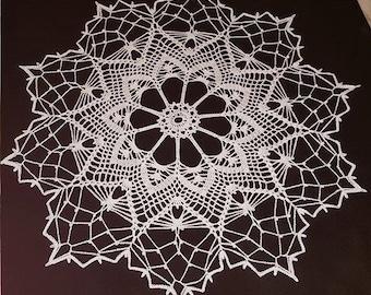 """Handmade crochet doily 22,5""""/57cm, white"""
