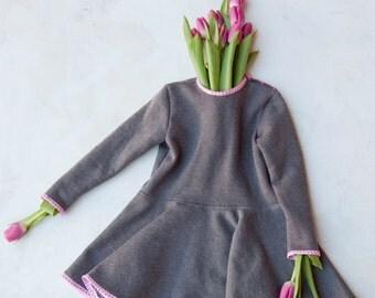 Dress girl fleece grey