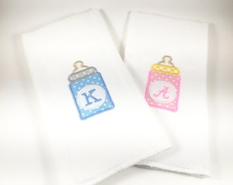 Personalized Baby Bottle Burp Cloth, Monogrammed Baby Bottle Burp Cloth, Embroidered Baby Bottle Burp Cloth, Blue & Pink Burp Cloth