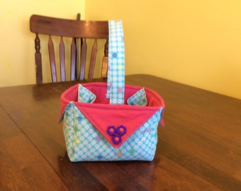 Blue floral and pink fabric tote/basket