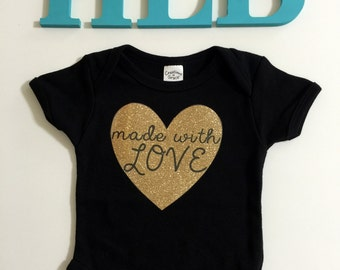 Infant Girl Toddler Girl Black Onesie or T shirt Made with Love-toddler girls clothes-baby girls clothes-babyshower gift-birthday girt-photo