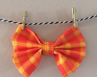Orange Plaid Dog Bow Tie