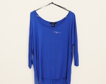 VEGAN upcycled blue slouchy wide-neck top, LARGE