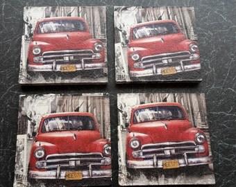 set of 4 classic American car wooden coasters handmade