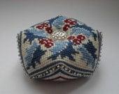 Christmas Holly Biscornu Pincushion Finished Cross Stitch Handmade Embroidered Pincushion Finished