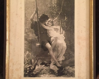 Antique Black and White Lithograph Print of 'Le Printemps' or 'Spring Time' by Pierre-Auguste Cot | Published 1882 by George Barrie
