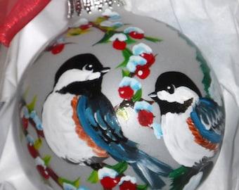 Chickadee Ornament, chickadee art, hand painted ornament, chickadee Christmas ball, the glass ornament is 3 1/4 round with bow