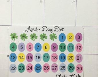 "April Monthly Day ""Dot"" Stickers ECLP Mambi Inkwell Press Filofax Kikki K Happy Life Planner shamrocks hearts eggs green pink"