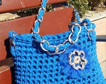 Crochet Blu Shoulder bag. Summer Shoulder Bag.