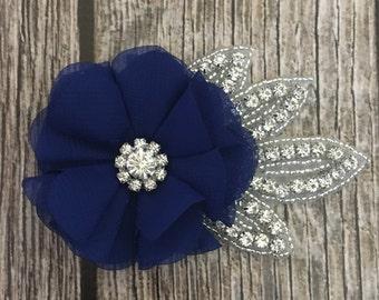 Royal blue hair clip, wedding hair clip, floral hair clip, rhinestone hair clip, vintage hair clip, flower hair clip