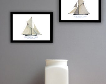 Americas Cup Yachts 1885 (prints unframed)