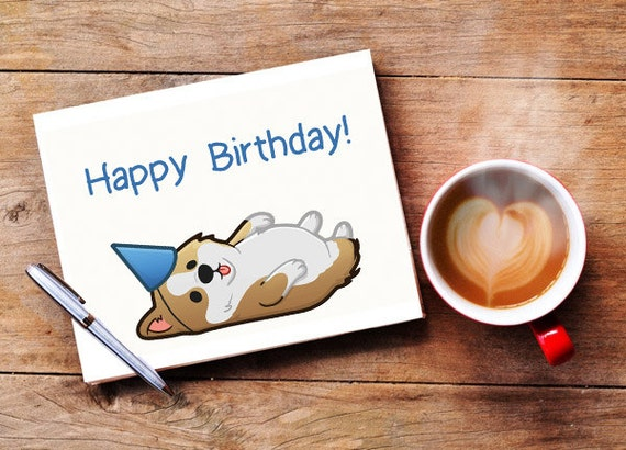 Happy Birthday Card with Corgi Puppy Dog Illustration Print