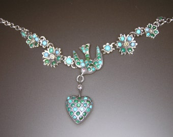 Victorian Silver Turquoise Necklace with Swallow Ornament