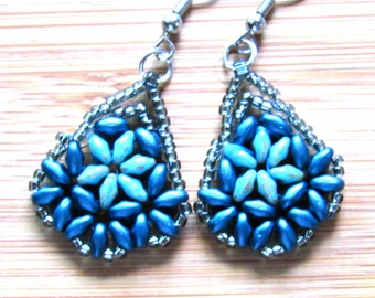 Silver beaded blue and turquise flowered earrings