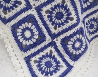Baby crochet blanket, Purple and White Granny square