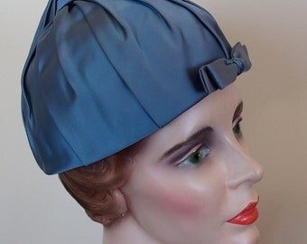 1960s MOD Satin Turban Hat 60s  Louis Original