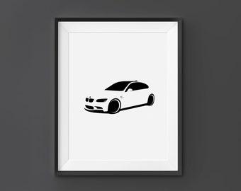 Bmw M3, BMW Wall Art, BMW Print, BMW, M3, Home Decor, Digital Download, Black and White, Scandinavian Art, Car Wall Art