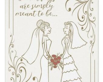 Wedding Congratulations - Two Brides   Lesbian Wedding card   Stylish cream bride and bride wedding card