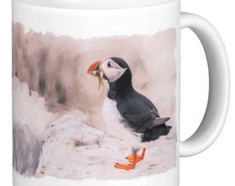 Oil and Chalk painted Puffin Print - Gift Mug