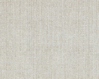 Hanover Linen Beige Contemporary Diamond Check Fabric By-the-Yard