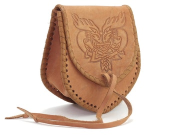 Medieval Leather Bag, Bag with embossing, 100% Genuine Leather Handmade in Light Brown color, Waist bag; Hip bag