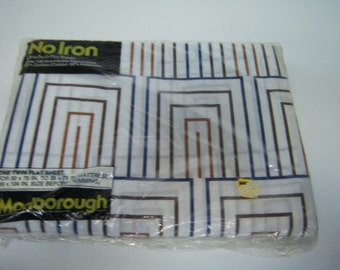 Marlborough Vintage, One Twin Flat Sheet, New In Plastic, Never Opened, Over 130 Threads Per Square Inch, Cotton and Polyester, No Iron