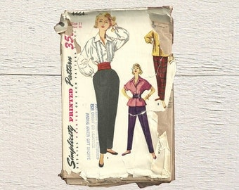 Tapered Slacks Pattern • Simplicity 4464 • 50s Women's Blouse • Overblouse and Slacks • 1950s Ladies Shirt • Old Sewing Pattern • 50s Style