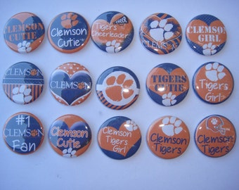 South Carolina Clemson Tigers Buttons Set of 15