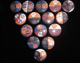 House Divided Clemson Tigers South Carolina Gamecocks Cutie Buttons Set of 15