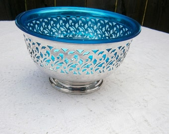 Mid-Century Modern Silver Bowl with Blue Lucite liner