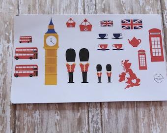 Travel Londn England Planner Agenda Stickers