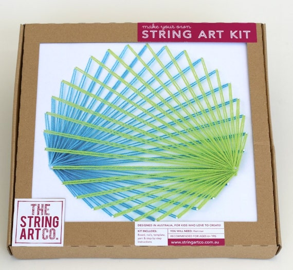 string art kit circle ray design blue green craft kit