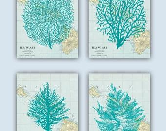 Sea Fan Art, Coral, Sea fans, Seaweed  Collage, Hawaii map, Nautical Art, coastal Decor Beach, Bathroom Decor, Nursery Art, Coastal Print