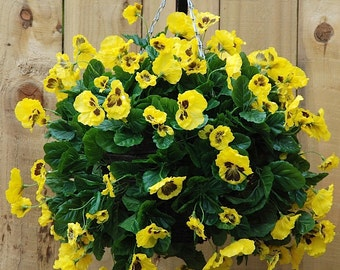 Artificial Yellow Pansy Ball Hanging Basket