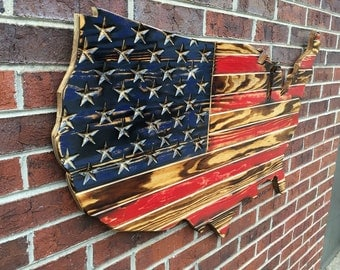 Red and Navy Rustic Engraved Wooden American Flag