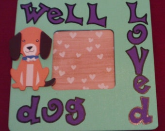 Well Loved Dog Mint Green Picture Frame