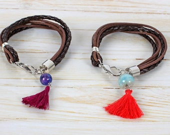 Bracelet braided rope and natural stone