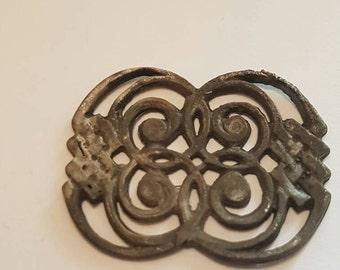 Beautiful Viking spiral brooch solid silver