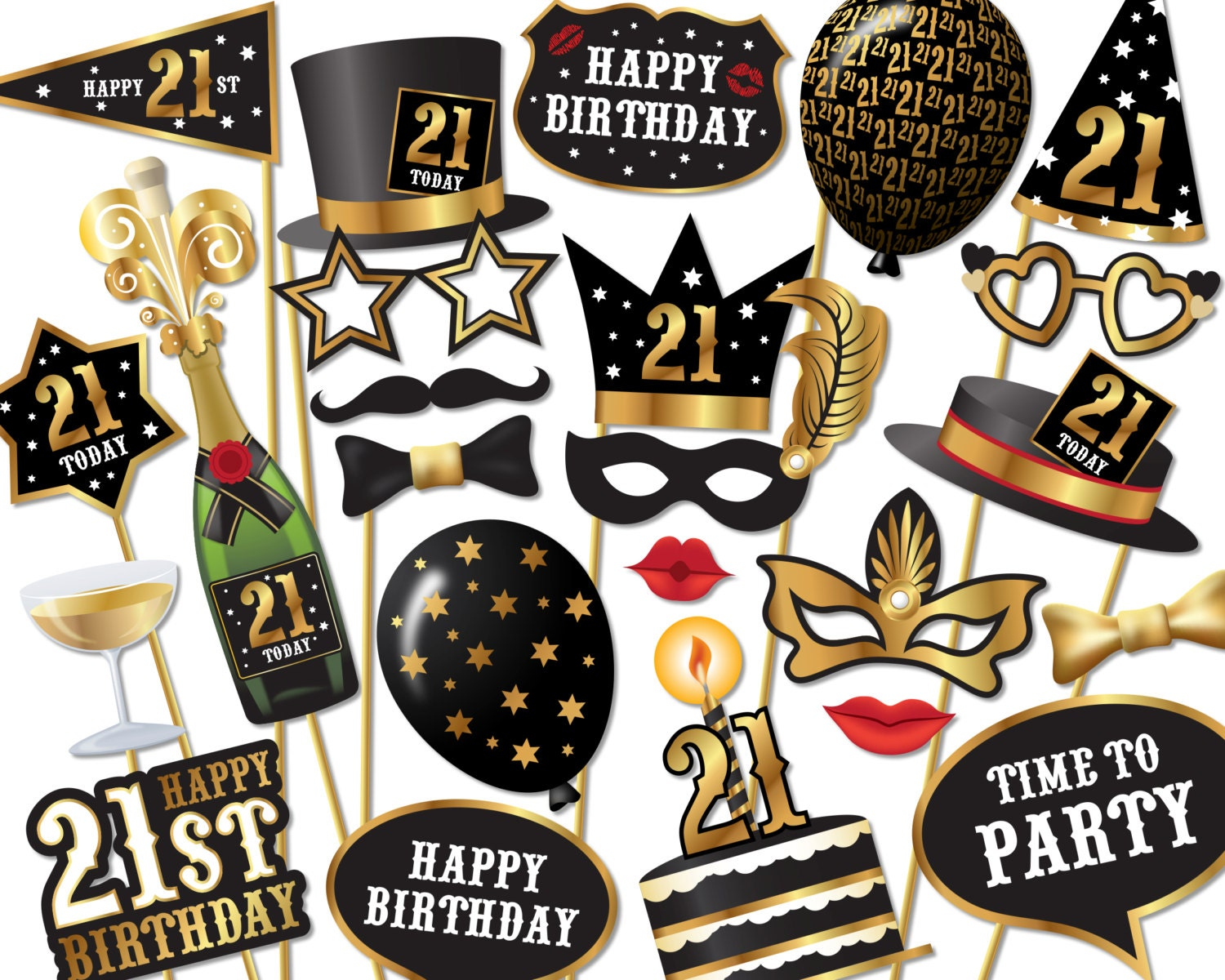 21st birthday photo booth props instant download printable for 21st party decoration