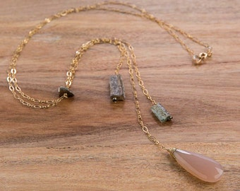 Pink Chalcedony + Roman Glass Necklace | 14K Gold Filled Necklace, Faceted Gemstone Necklace, Swarovski, Pendant