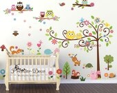 Cute Woodland  Animal Theme  OwlSquirrelFoxBirdFlowerTree Nursery Kids room Unisex Removable Wall DecalWall Sticker