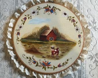 Cow in Farm Oil Painting Hoop Art, Vintage Oil on Canvas Hoop Art