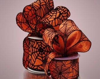 Ribbon, Halloween Ribbon, Wired Ribbon, Orange Ribbon, Spider Web Ribbon, Orange Black Ribbon,