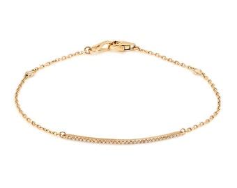 Diamond Bar Bracelet on 14k Gold, Yellow Gold, Rose Gold