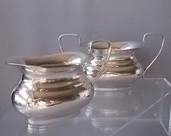 Silver Plated Milk & Sugar Dishes, Home Decor, Kitchen Serving Dishes, Fine Table Ware Dining Dishes, Stamped, Quality 1940s Vintage Dishes.