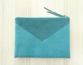 Clutch Bag Envelope Teal Wristlet Large Vegan Clutch Wallet Statement Handbag Christmas Gift Idea for Her